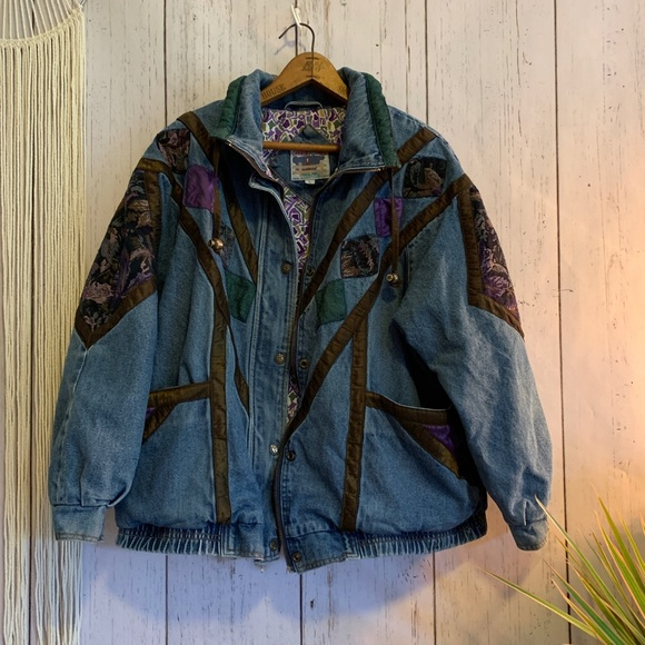 Vintage Jackets & Blazers - Vintage Current Seen Floral Tapestry Denim Jacket